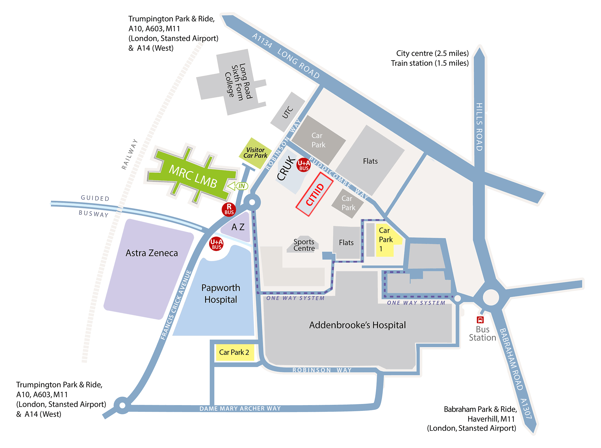Map of the Cambridge Biomedical Campus showing the location of CITIID off Pudicombe Way