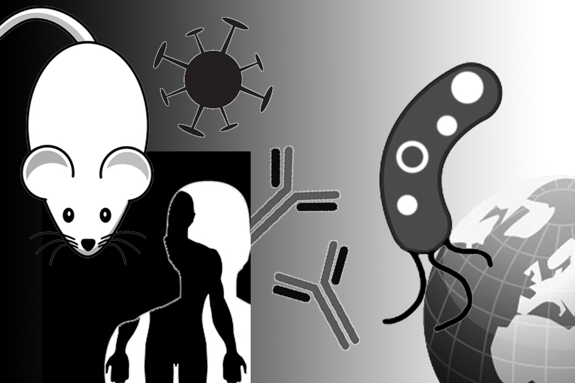 Collage graphic: mouse, virus, human figure, chromosomes, microbe and the world