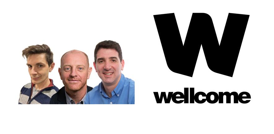 Photo of three CITIID investigators, wellcome fellows, set against the Welllcome Trust logo